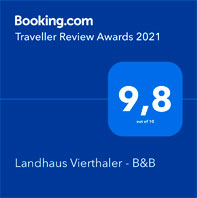 Booking Award - Pension Vierthaler | Bed & Breakfast