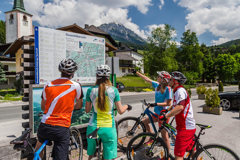 Rad fahren, Mountainbiken in Filzmoos, Salzburger Land, Österreich